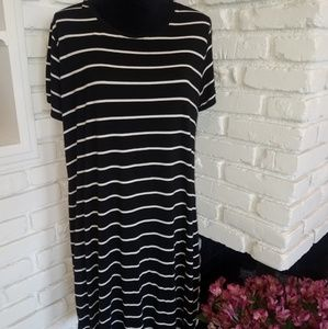 Black with white stripe tshirt dress